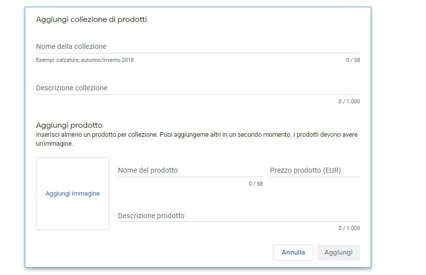 inserimento prodotti Google
